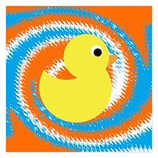 Rubber Duck Orange Blue Invitations