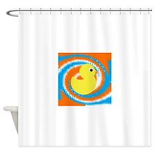 Rubber Duck Orange Blue Shower Curtain