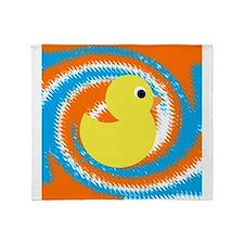 Rubber Duck Orange Blue Throw Blanket