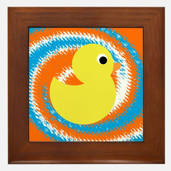 Rubber Duck Orange Blue Framed Tile