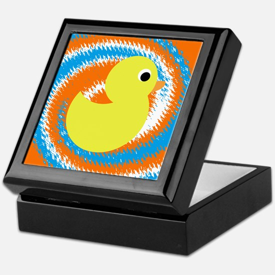 Rubber Duck Orange Blue Keepsake Box