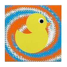 Rubber Duck Orange Blue Tile Coaster