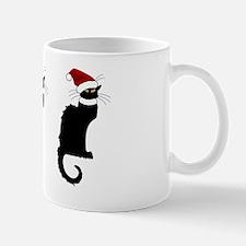 Christmas Le Chat Noir With Santa Hat Mug