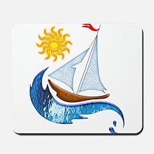 Sailboat, ocean and Sun copy Mousepad
