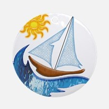Sailboat, ocean and Sun copy Ornament (Round)