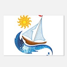 Sailboat, ocean and Sun c Postcards (Package of 8)