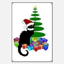 Christmas Le Chat Noir With Santa Hat Banner