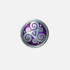 Celtic Double Triskelion - Silver & Mini Butto