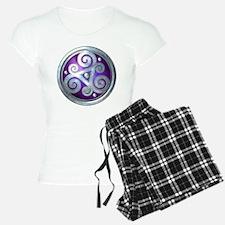 Celtic Double Triskelion - Silver & Purple Pajamas