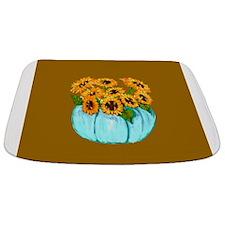 Sunflowers in Teal Pumpkin vase 2 Bathmat