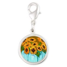 Sunflowers in Teal Pumpkin vase 1 Charms