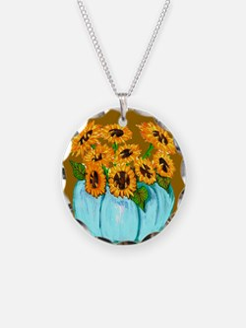 Sunflowers in Teal Pumpkin vase 1 Necklace