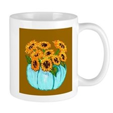 Sunflowers in Teal Pumpkin vase 1 Mugs
