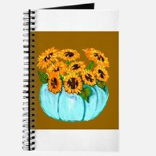 Sunflowers in Teal Pumpkin vase 1 Journal