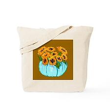 Sunflowers in Teal Pumpkin vase 1 Tote Bag
