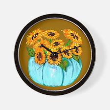 Sunflowers in Teal Pumpkin vase 1 Wall Clock