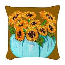 Sunflowers in Teal Pumpkin vase 1 Woven Throw Pill
