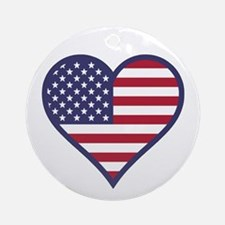 American Flag Heart Ornament (Round)