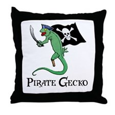Pirate Gecko Throw Pillow