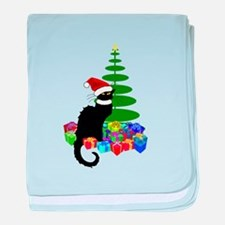 Christmas Le Chat Noir With Santa Hat baby blanket