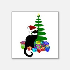 Christmas Le Chat Noir With Santa Hat Sticker