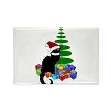 Christmas Le Chat Noir With Santa Hat Magnets