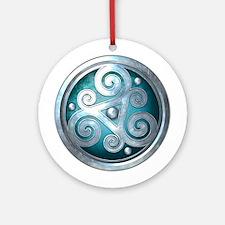 Celtic Double Triskelion - Teal Ornament (Round)
