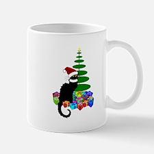 Christmas Le Chat Noir With Santa Hat Mugs