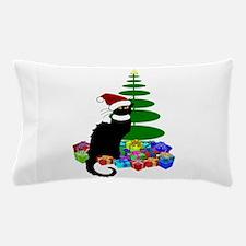 Christmas Le Chat Noir With Santa Hat Pillow Case