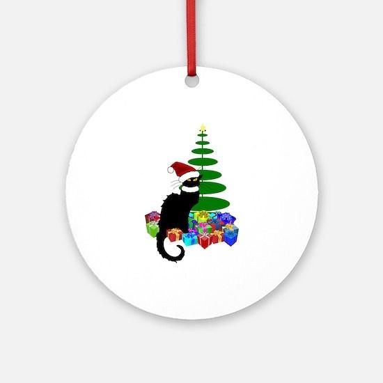 Christmas Le Chat Noir With Santa Ornament (Round)