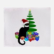Christmas Le Chat Noir With Santa Ha Throw Blanket