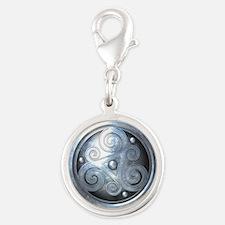 Celtic Double Triskelion - Sil Silver Round Charm
