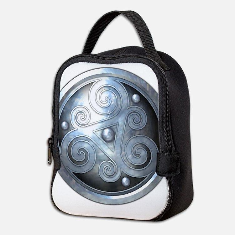 Celtic Double Triskelion - Silv Neoprene Lunch Bag