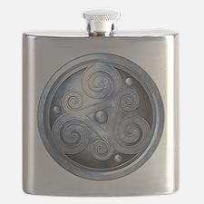Celtic Double Triskelion - Silver Flask