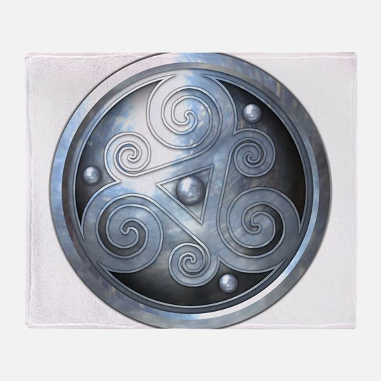 Celtic Double Triskelion - Silver Throw Blanket