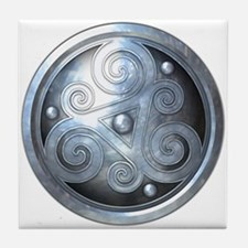 Celtic Double Triskelion - Silver Tile Coaster