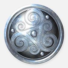 Celtic Double Triskelion - Silver Round Car Magnet