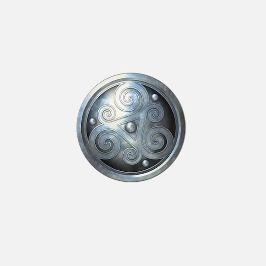 Celtic Double Triskelion - Silver Mini Button