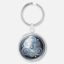 Celtic Double Triskelion - Silver Round Keychain