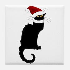 Christmas Le Chat Noir With Santa Hat Tile Coaster
