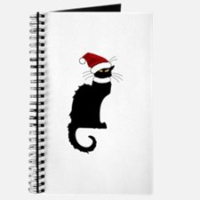 Christmas Le Chat Noir With Santa Hat Journal