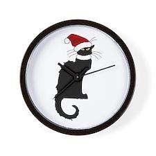 Christmas Le Chat Noir With Santa Hat Wall Clock