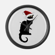Christmas Le Chat Noir With Santa Large Wall Clock
