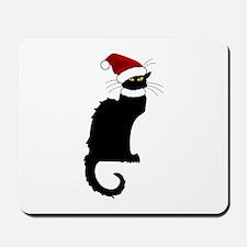 Christmas Le Chat Noir With Santa Hat Mousepad