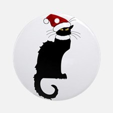 Christmas Le Chat Noir With Santa Ornament (Round)