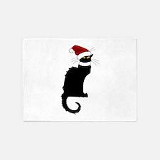 Christmas Le Chat Noir With Santa H 5'x7'Area Rug