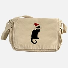 Christmas Le Chat Noir With Santa Ha Messenger Bag