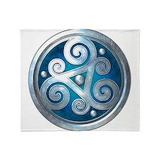 Celtic Double Triskelion - Blue Throw Blanket