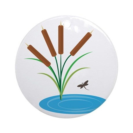 Cattail pond ornament round by windmill19 Pond ornaments