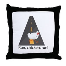 Run, Chicken, Run! Throw Pillow